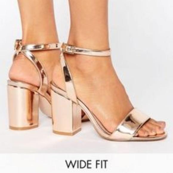 Asos Wide Fit Rose Gold Heels